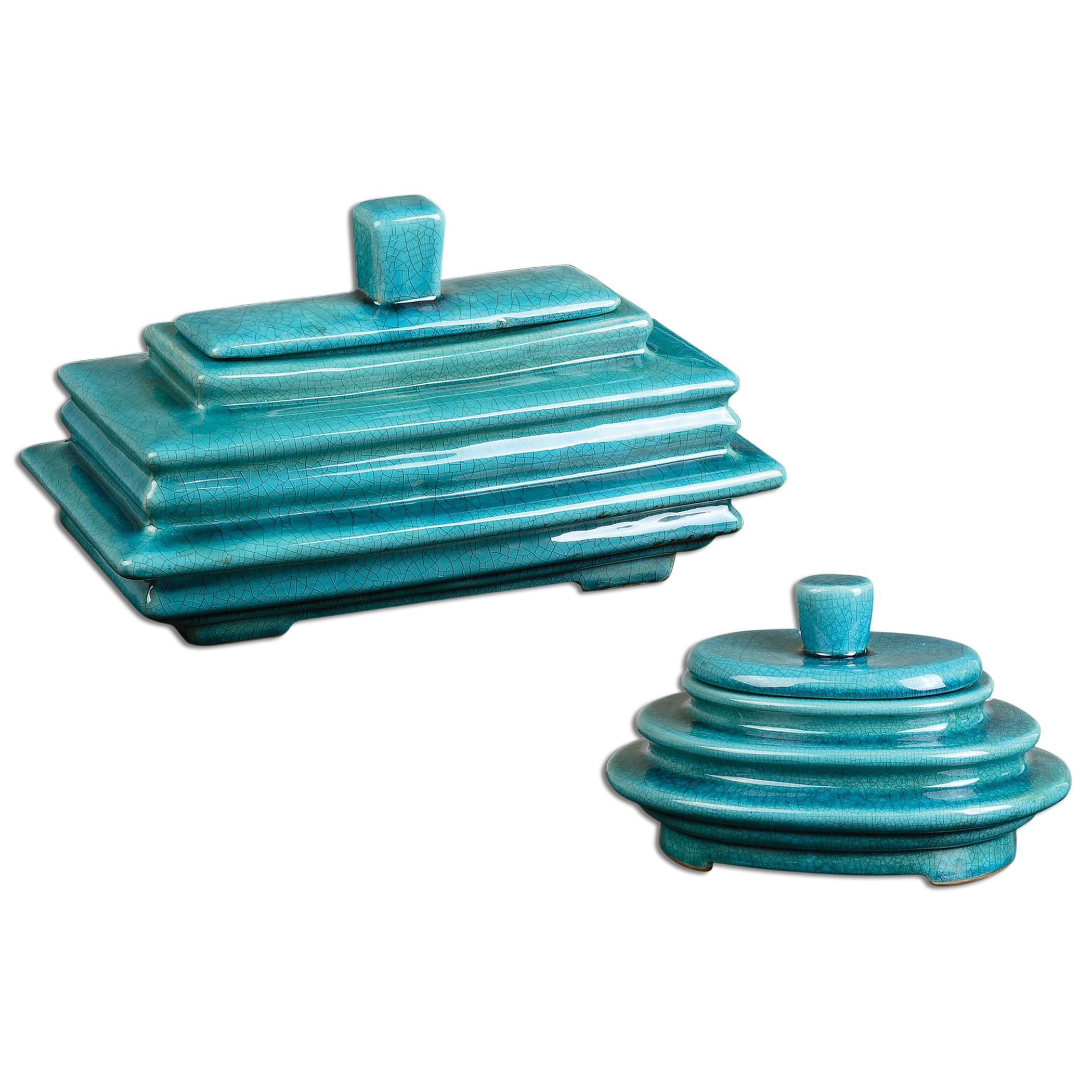 Uttermost Accessories Indra Bright Blue Boxes, Set of  2 - Item Number: 19836