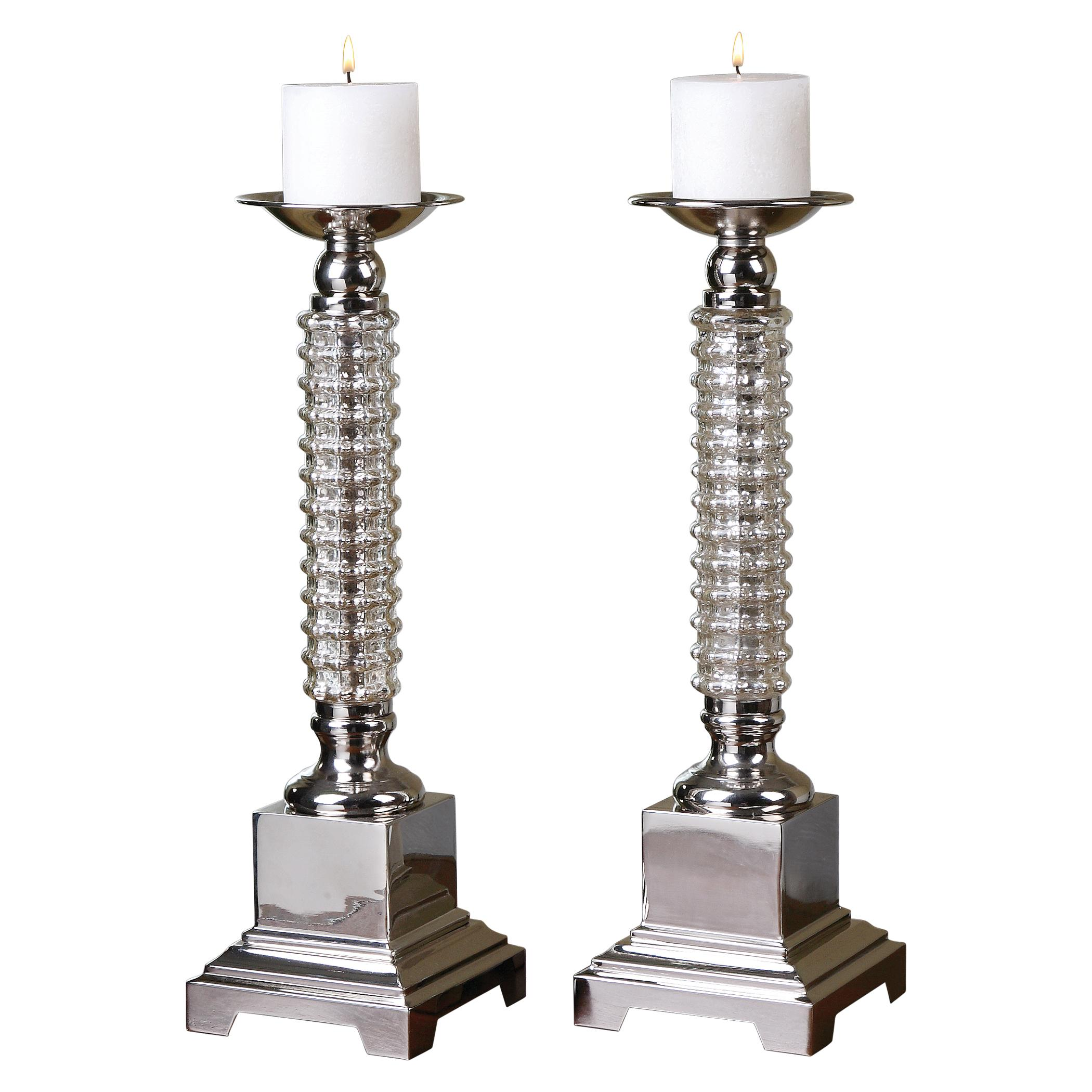 Uttermost Accessories Ardex Mercury Glass Candleholders, Set of  2 - Item Number: 19840