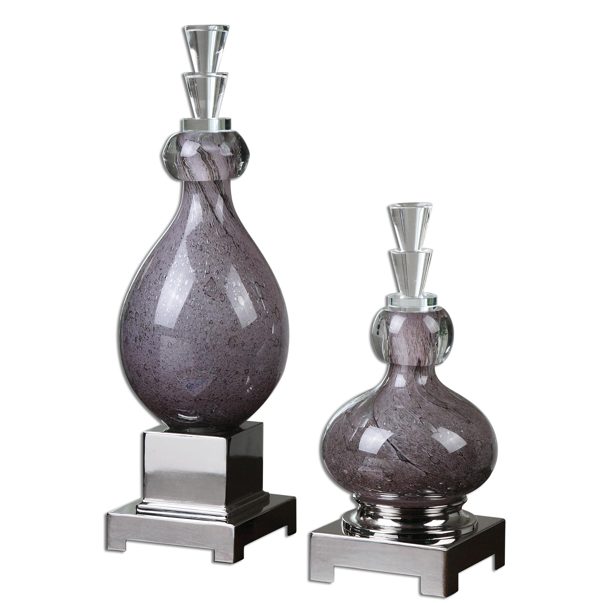 Charoite Purple Glass Bottles, Set of  2