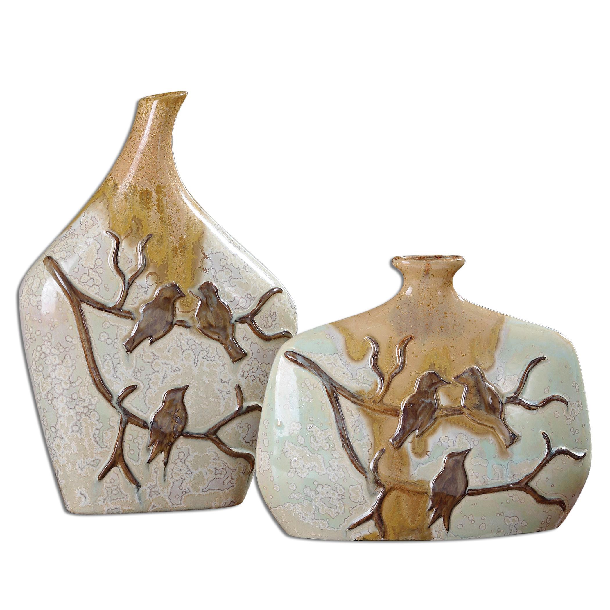 Uttermost Accessories Pajaro Ceramic Vases, Set of  2 - Item Number: 19843