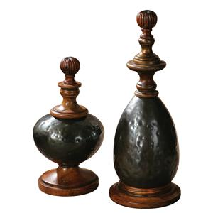 Uttermost Accessories Javini Metal Finials, Set of  2