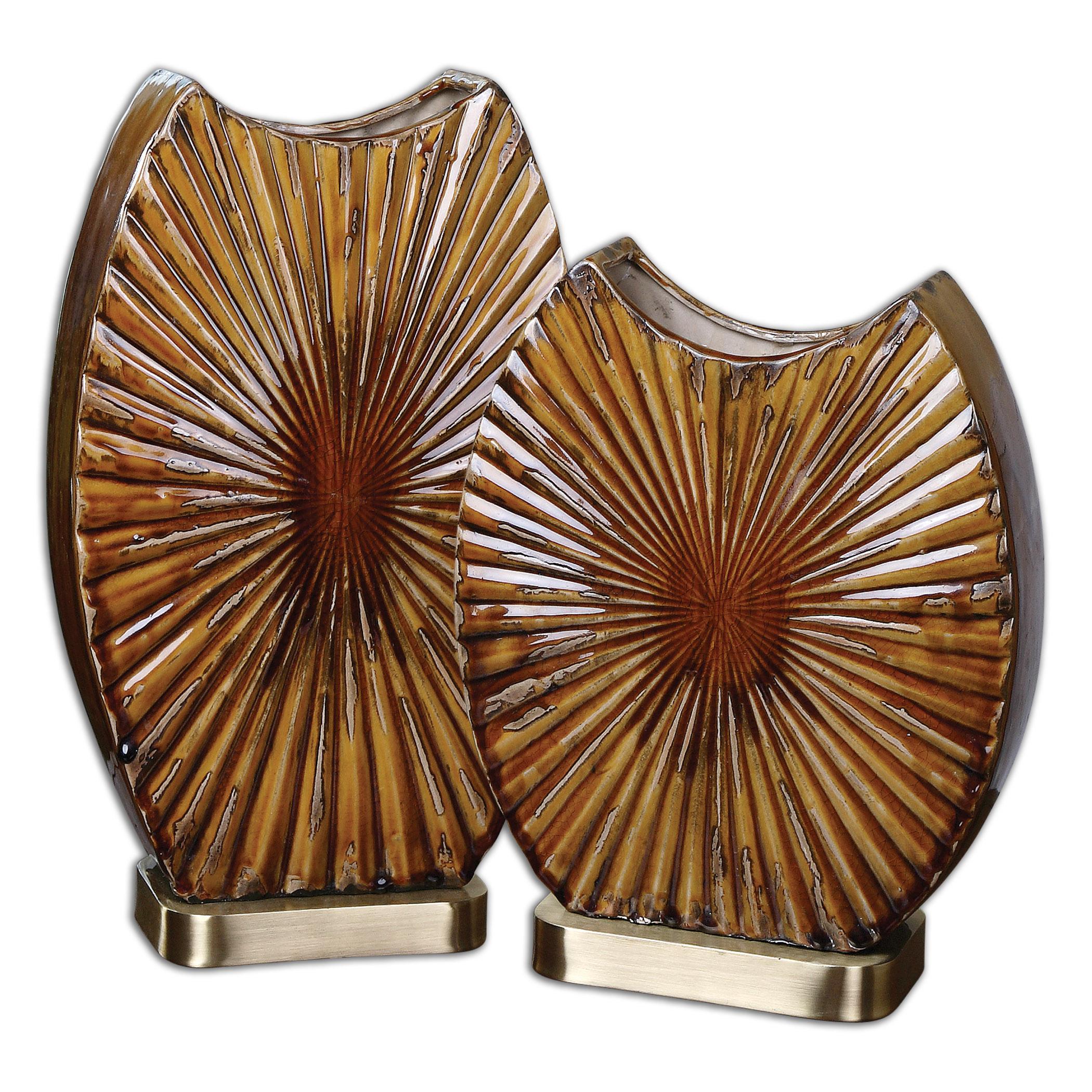 Uttermost Accessories Zarina Marbled Ceramic Vases Set of 2 - Item Number: 19867