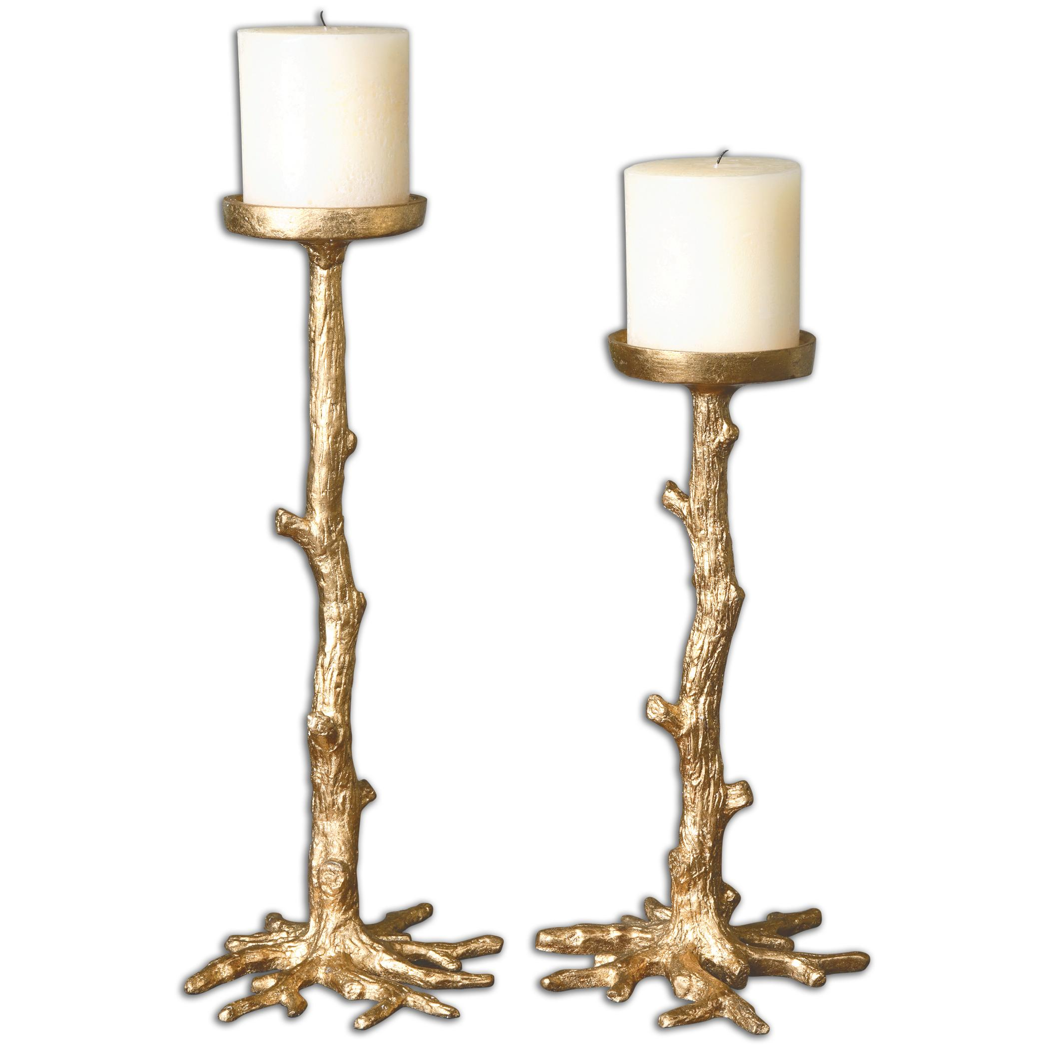 Uttermost Accessories Maple Gold Candleholders, Set of 2 - Item Number: 19886