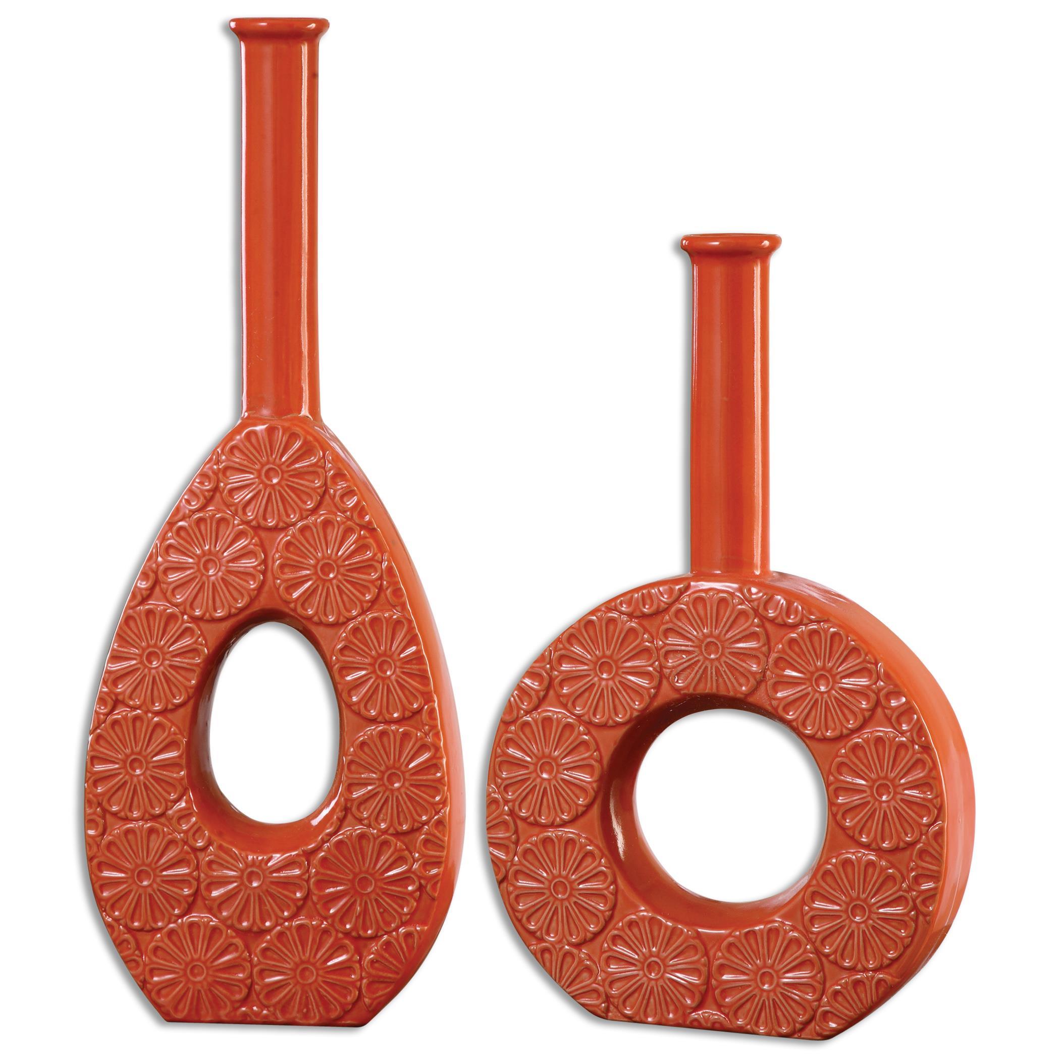 Uttermost Accessories Ace Orange Vases S/2 - Item Number: 19926