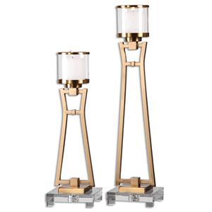 Uttermost Accessories Leonidas Antique Gold Candleholders, S/2