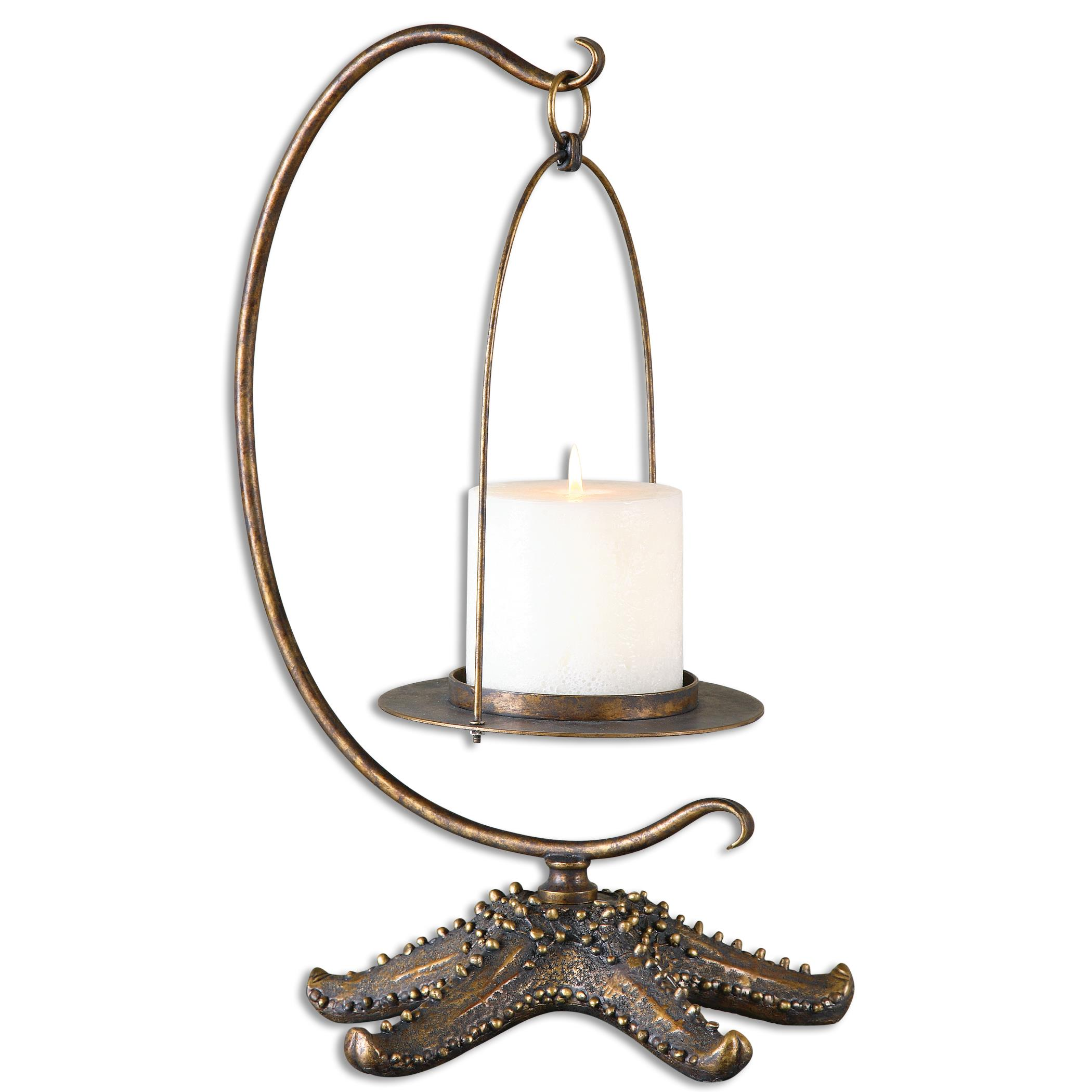 Uttermost Accessories Starfish Antiqued Gold Candleholder - Item Number: 19934
