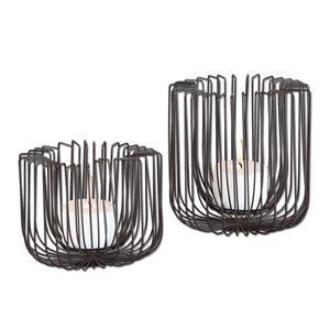 Flare Black Wire Candleholders S/2