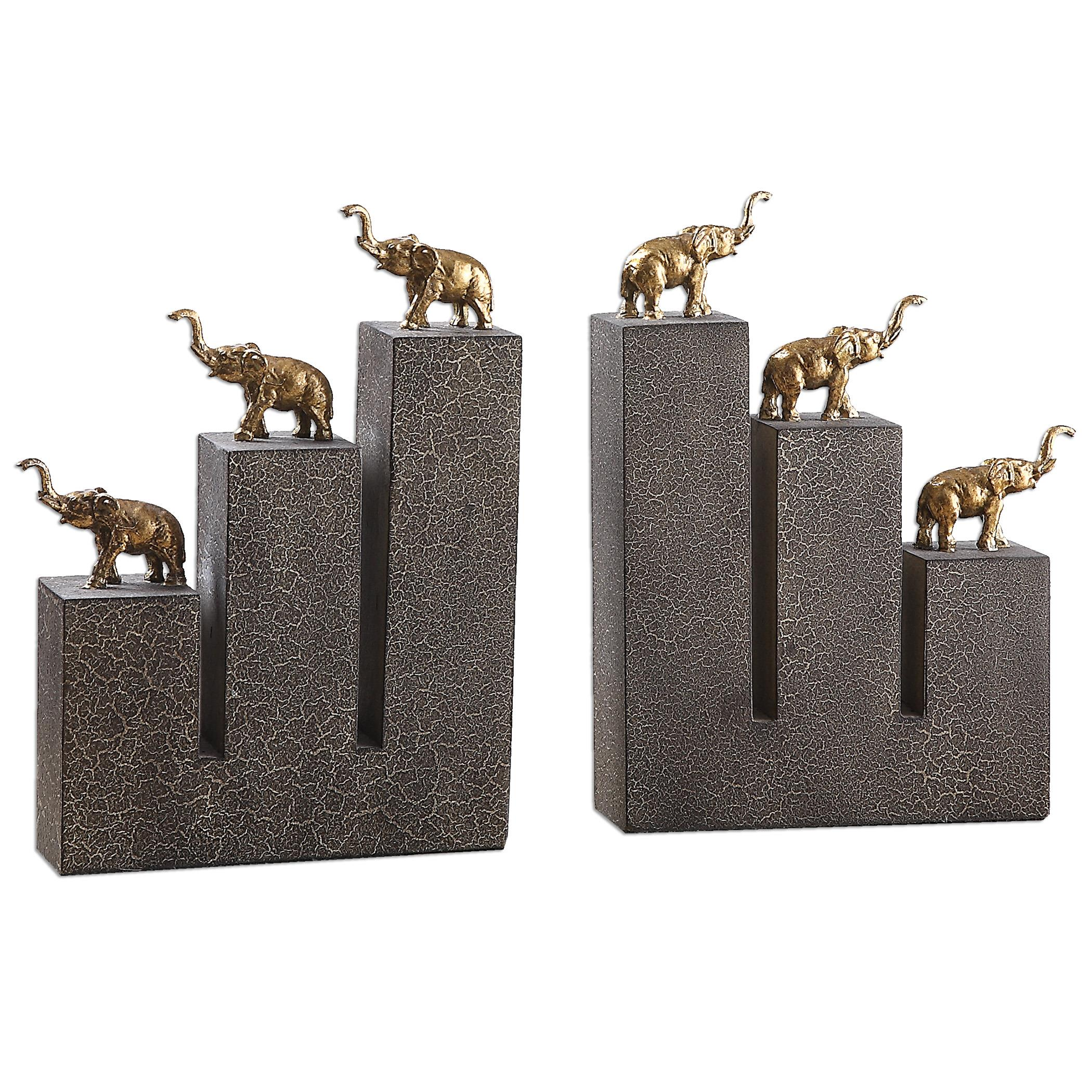 Uttermost Accessories Elephant Bookends, S/2 - Item Number: 19979