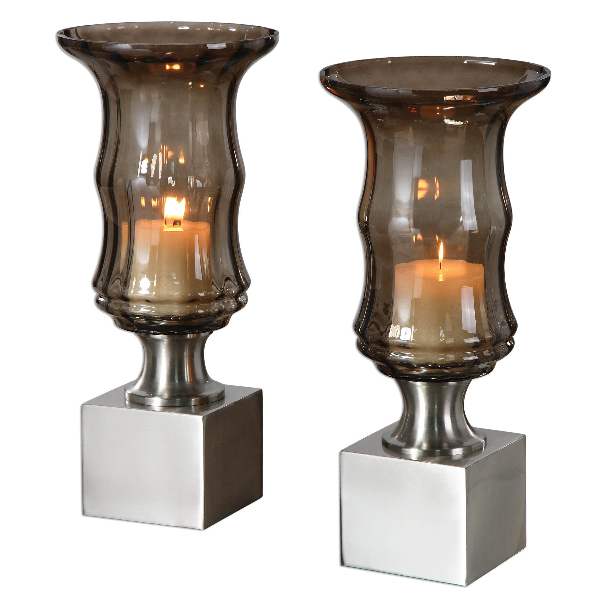 Uttermost Accessories Araby Smoked Glass Candleholders, S/2 - Item Number: 19998