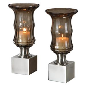 Uttermost Accessories Araby Smoked Glass Candleholders, S/2