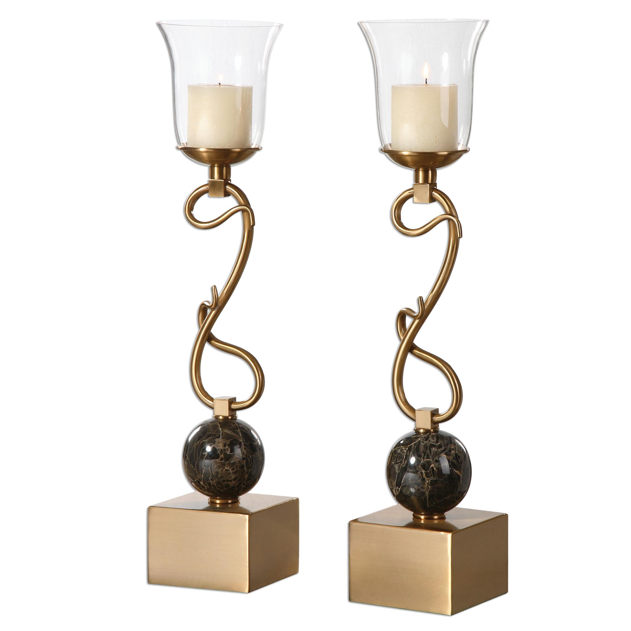 Uttermost Accessories Attila Coffee Bronze Candleholders, S/2 - Item Number: 19999