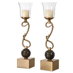 Uttermost Accessories Attila Coffee Bronze Candleholders, S/2