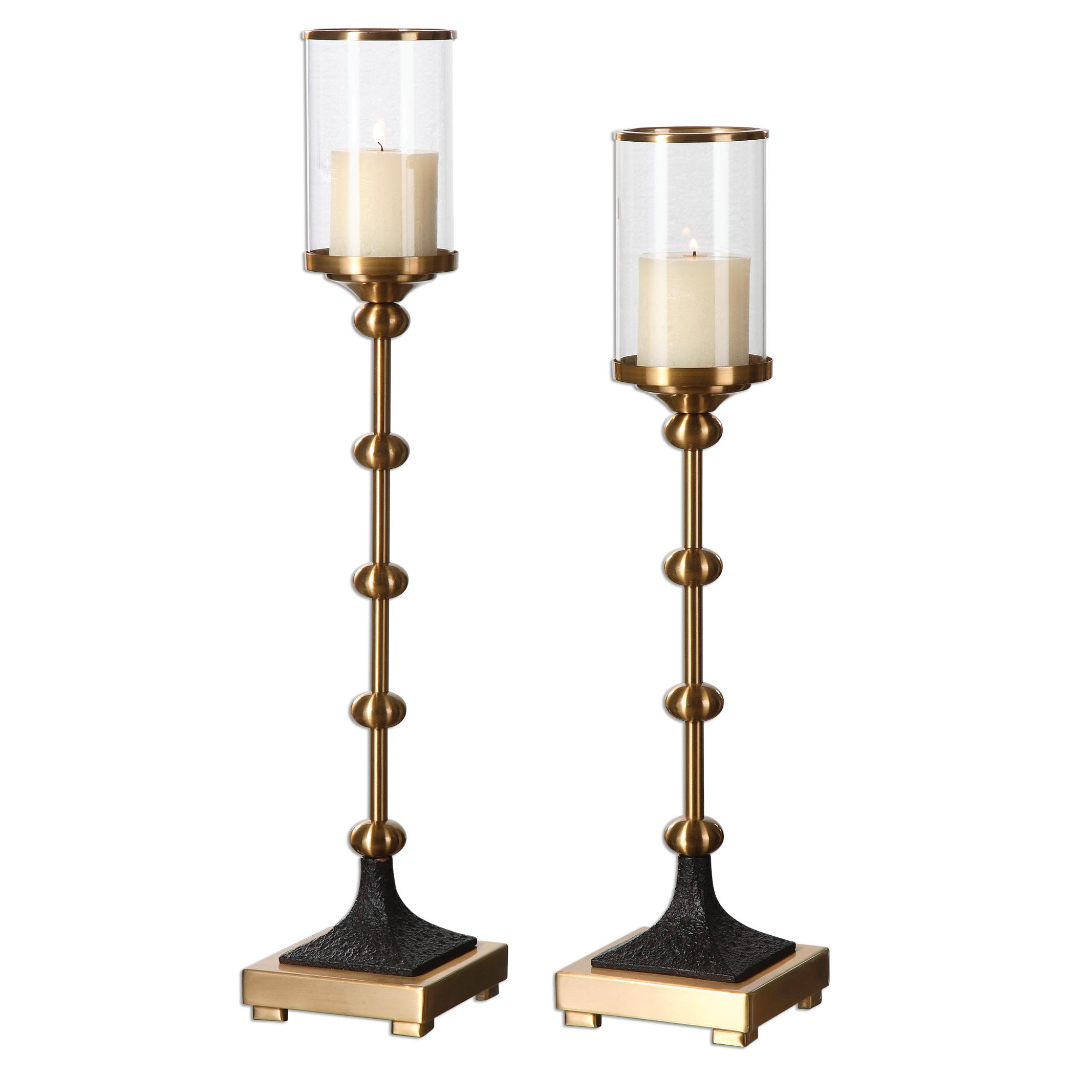Uttermost Accessories Santona Brass Candleholders, S/2 - Item Number: 20001