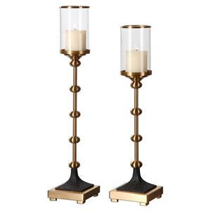 Uttermost Accessories Santona Brass Candleholders, S/2