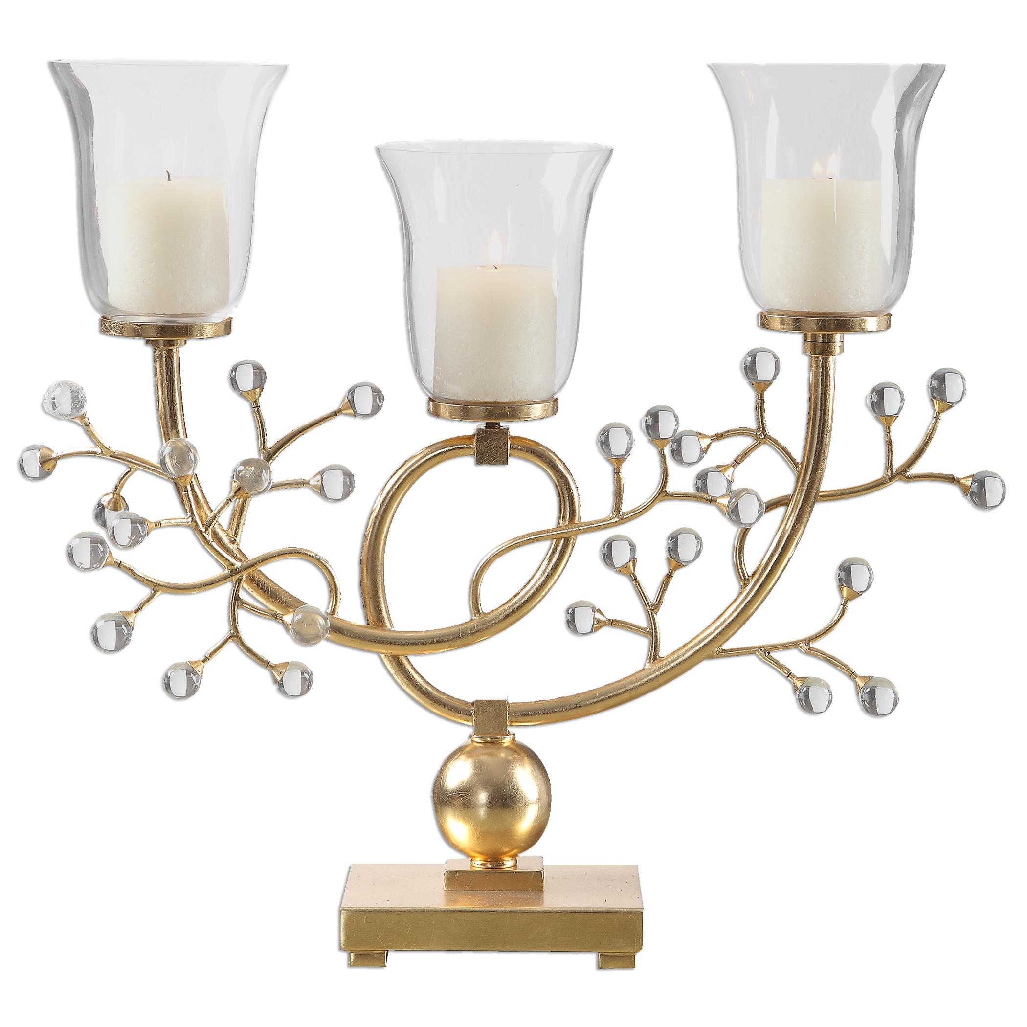 Uttermost Accessories Bede Metallic Gold Candelabra - Item Number: 20003