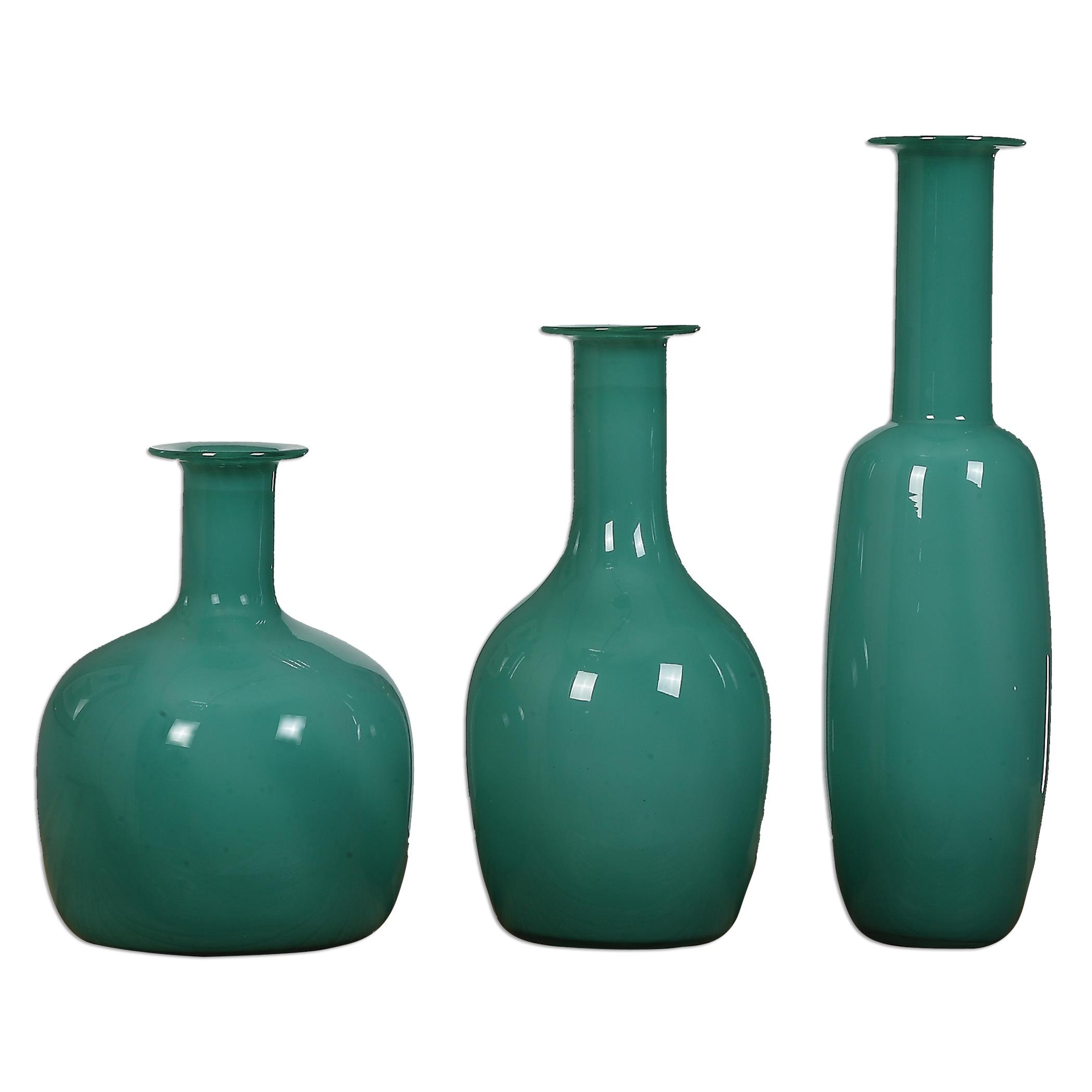 Uttermost Accessories Baram Turquoise Vases, S/3 - Item Number: 20017