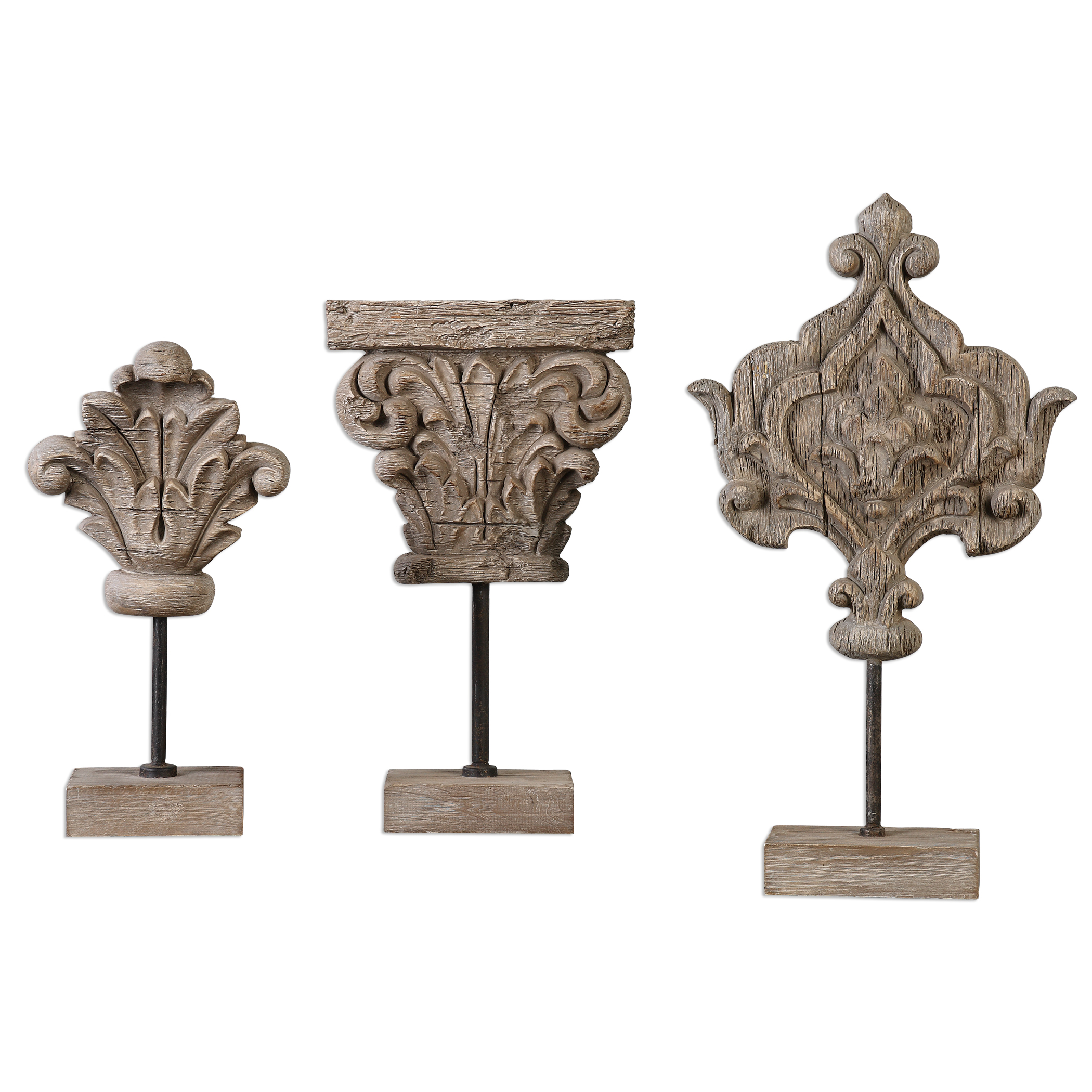 Uttermost Accessories Marta Wood Sculptures, S/3 - Item Number: 20054