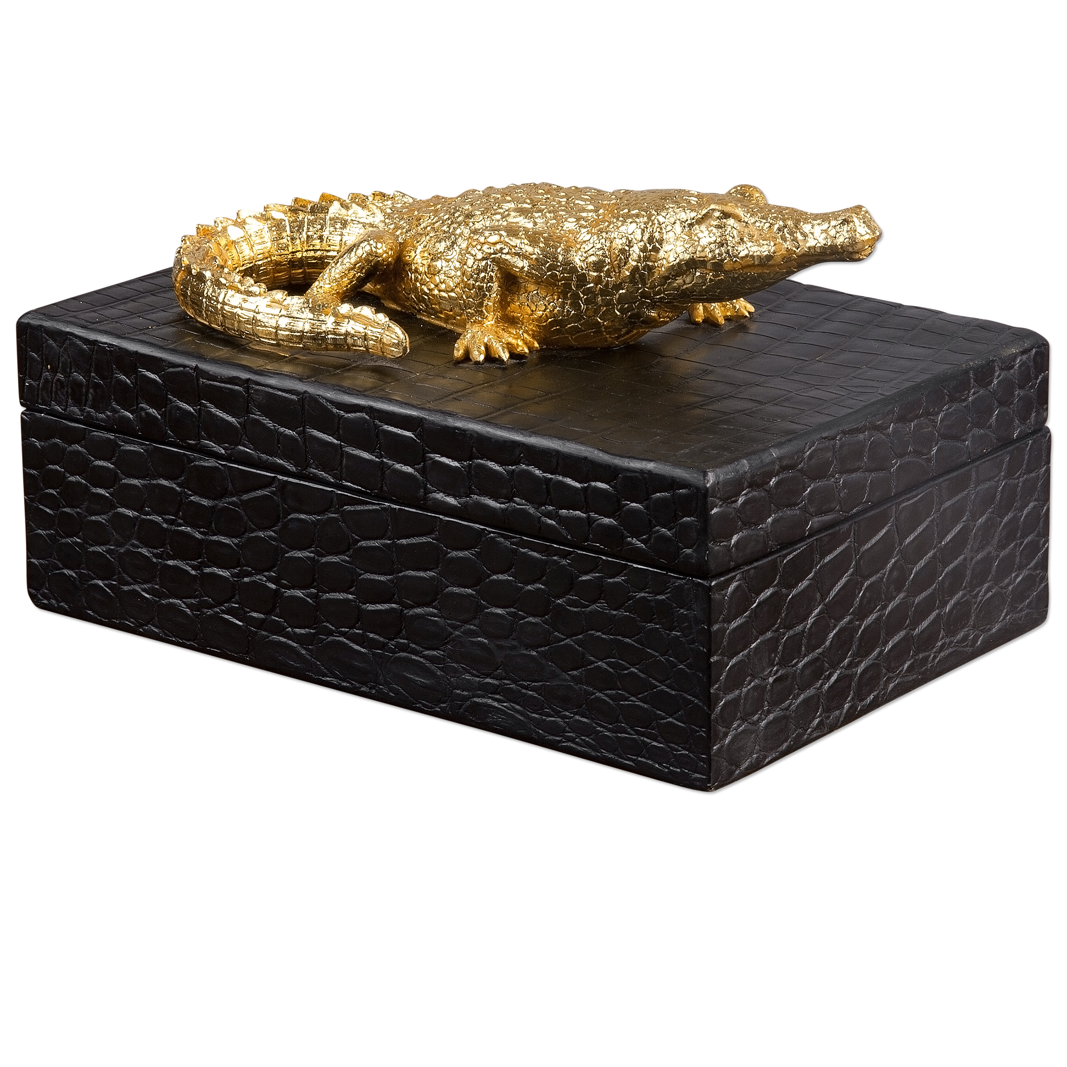 Uttermost Accessories Gold Crocodile Box - Item Number: 20059