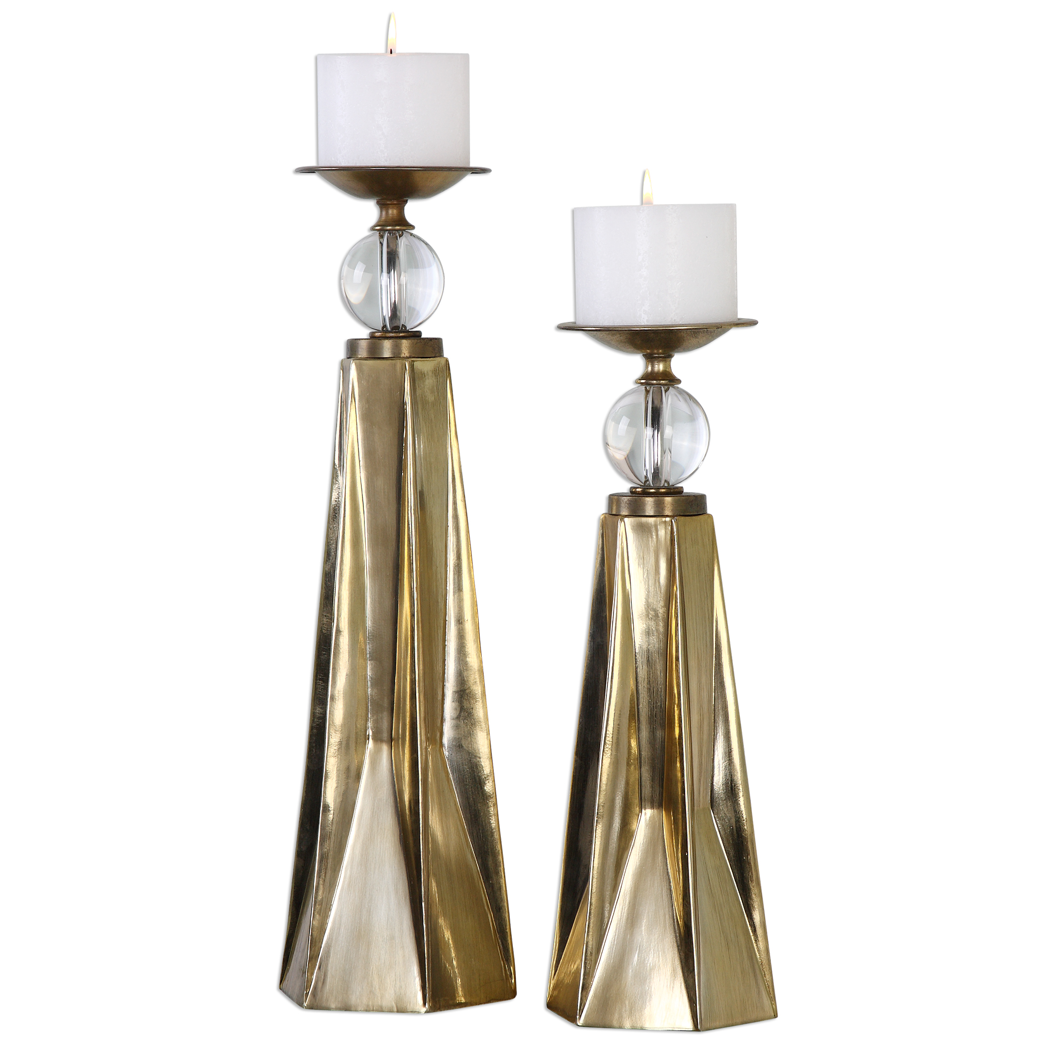 Uttermost Accessories Carlino Bronze Candleholders, S/2 - Item Number: 20068