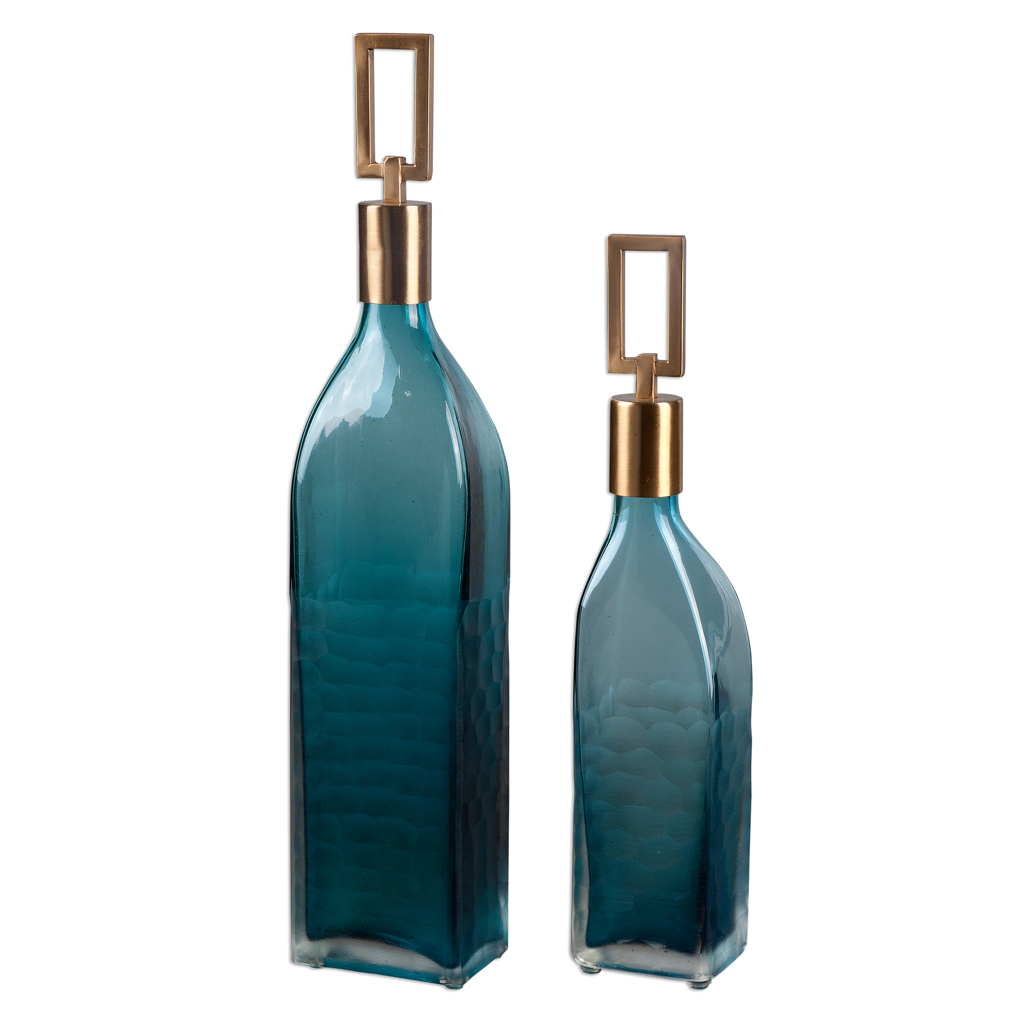 Uttermost Accessories Annabella Teal Glass Bottles, S/2 - Item Number: 20076
