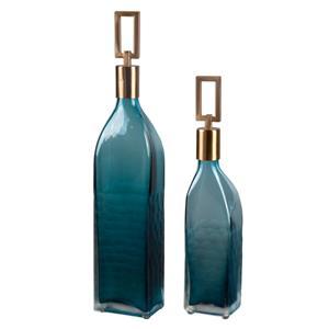 Annabella Teal Glass Bottles, S/2