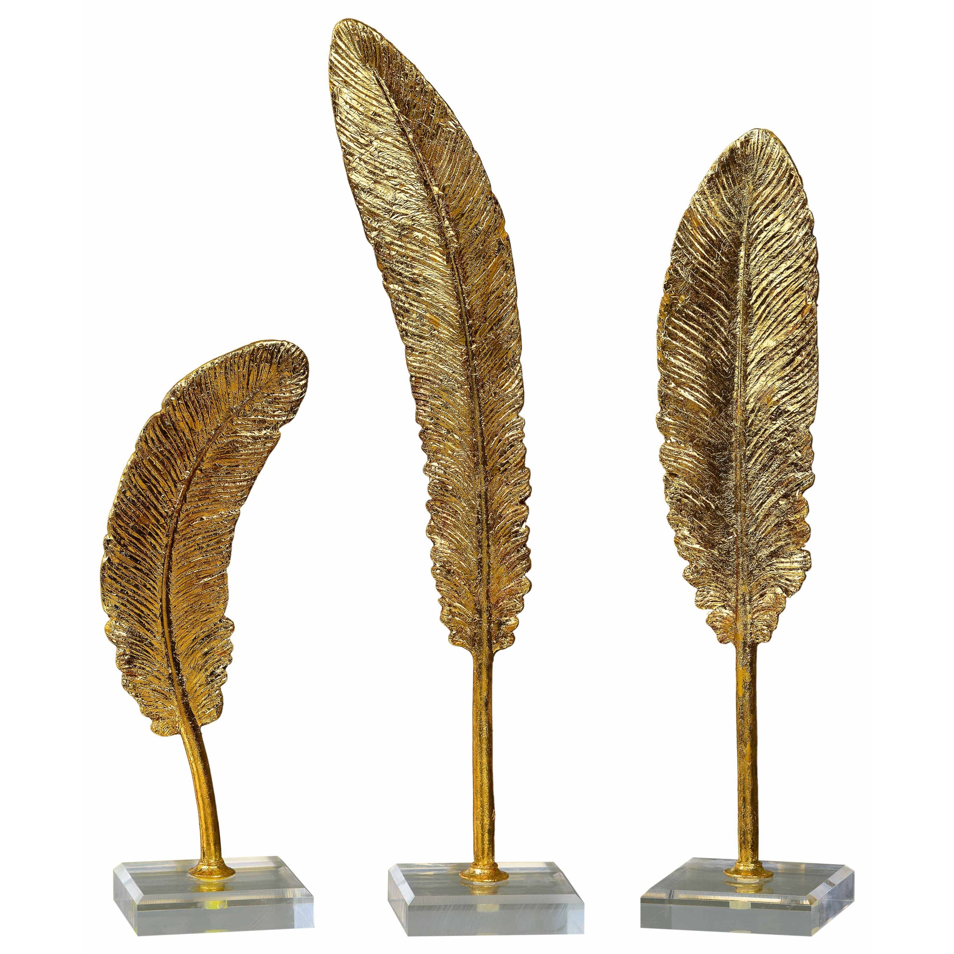 Uttermost Accessories Feathers Gold Sculpture S/3 - Item Number: 20079
