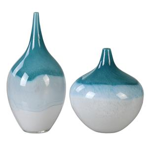 Uttermost Accessories Carla Teal White Vases, S/2