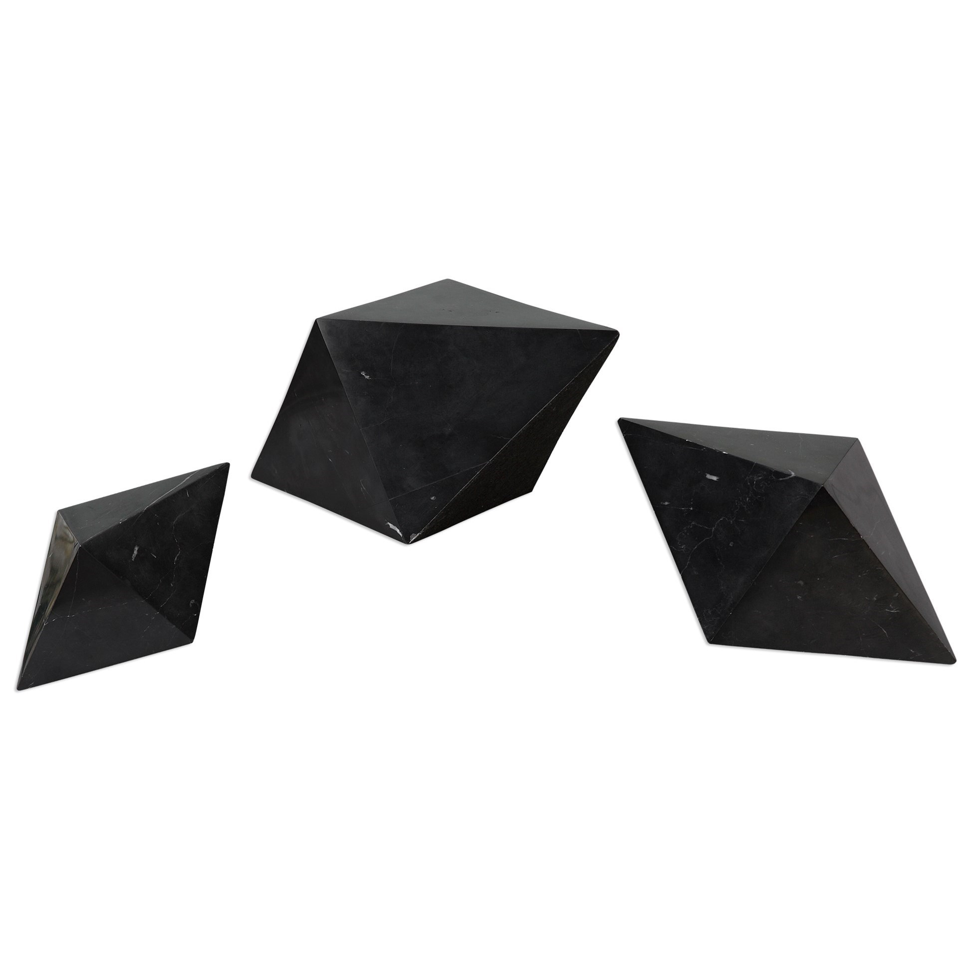 Uttermost Accessories Rhombus Black Marble Sculpture S/3 - Item Number: 20095
