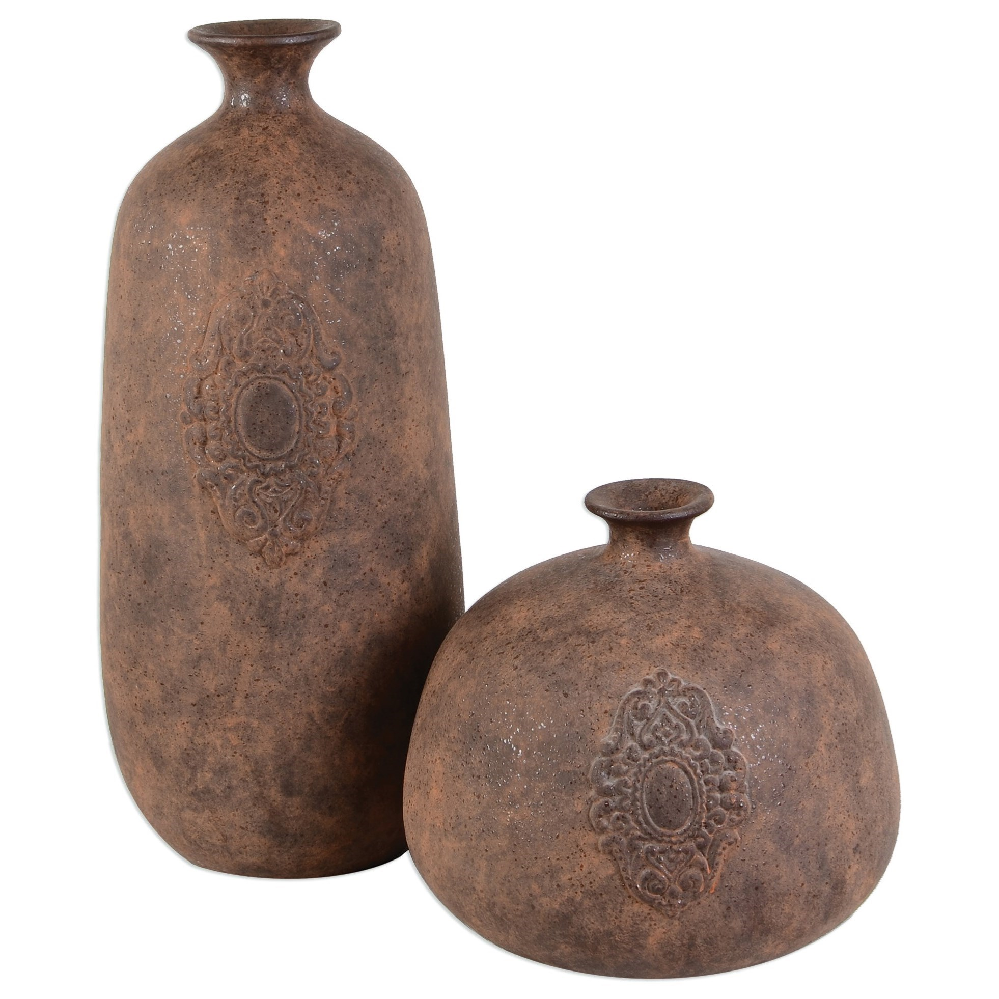 Uttermost Accessories  Frederico Rustic Vases (Set of 2) - Item Number: 20105