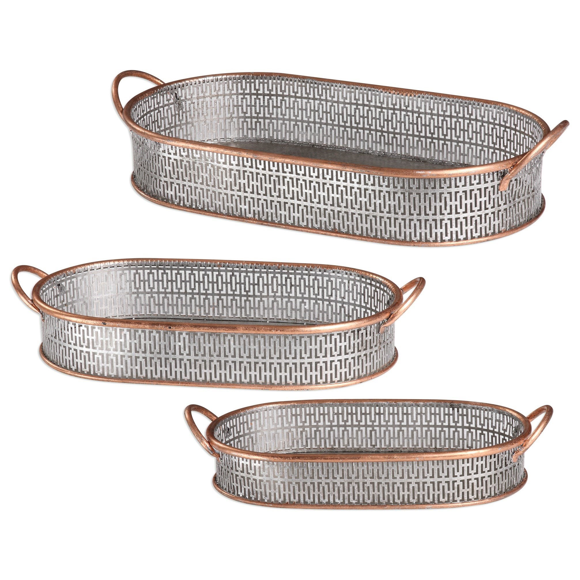 Uttermost Accessories  Fabiana Antiqued Silver Trays (Set of 3) - Item Number: 20180