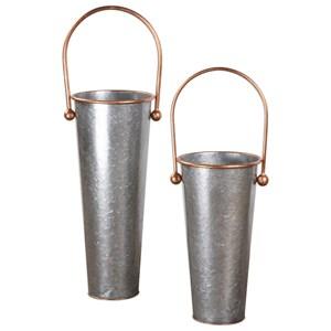 Uttermost Accessories  Ortensia Galvanized Flower Buckets (Set of