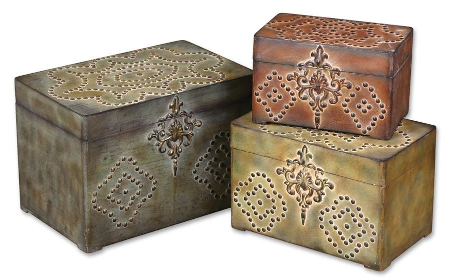 Uttermost Accessories Hobnail Boxes Set of 3 - Item Number: 20394