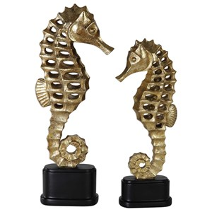 Uttermost Accessories Metallic Sea Horse Sculpture (Set of 2)