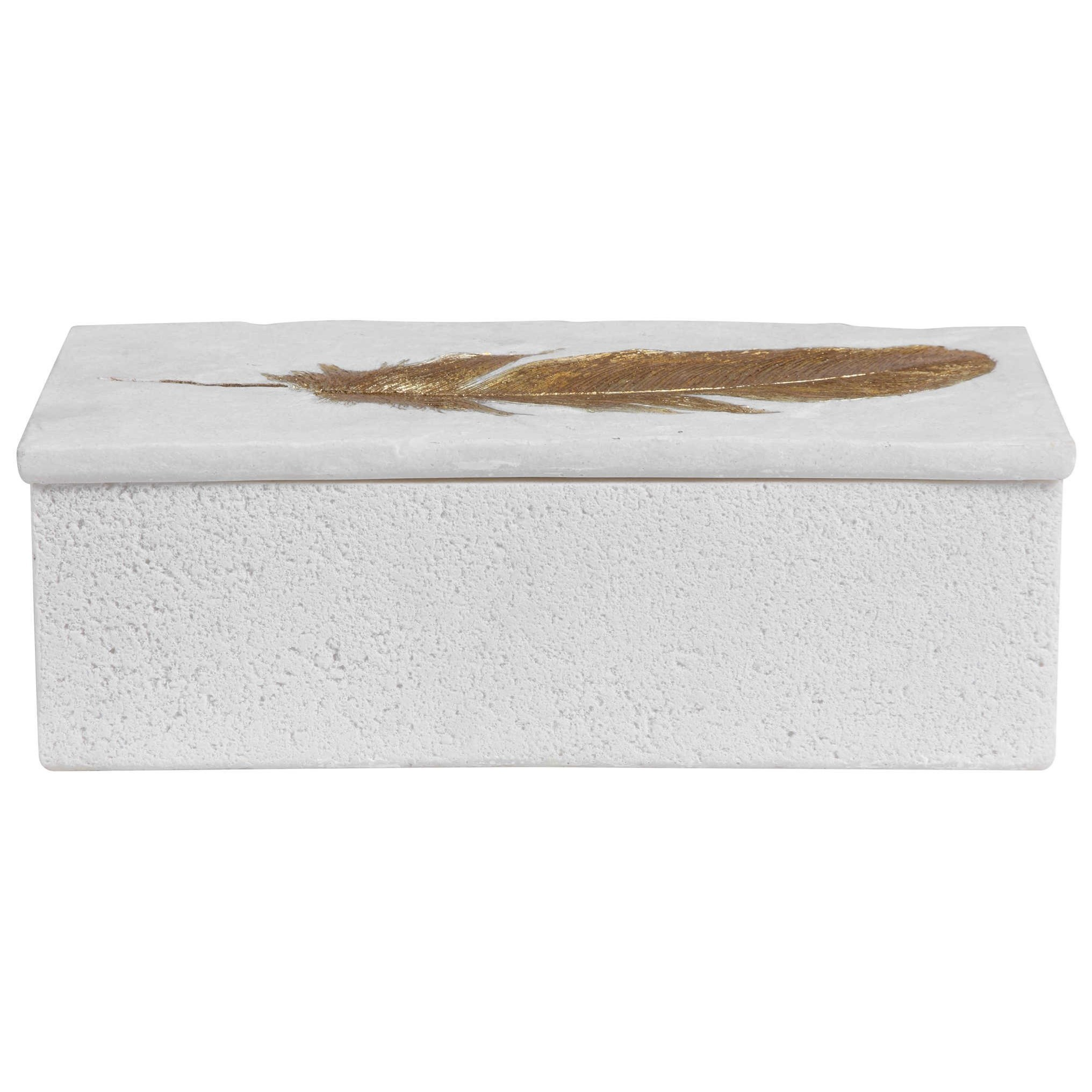 Accessories - Boxes Nephele White Stone Box by Uttermost at Dunk & Bright Furniture