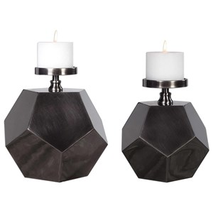 Dash Steel Polygon Candleholders (Set of 2)