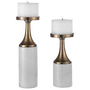 Castiel Marble Candleholders, Set/2