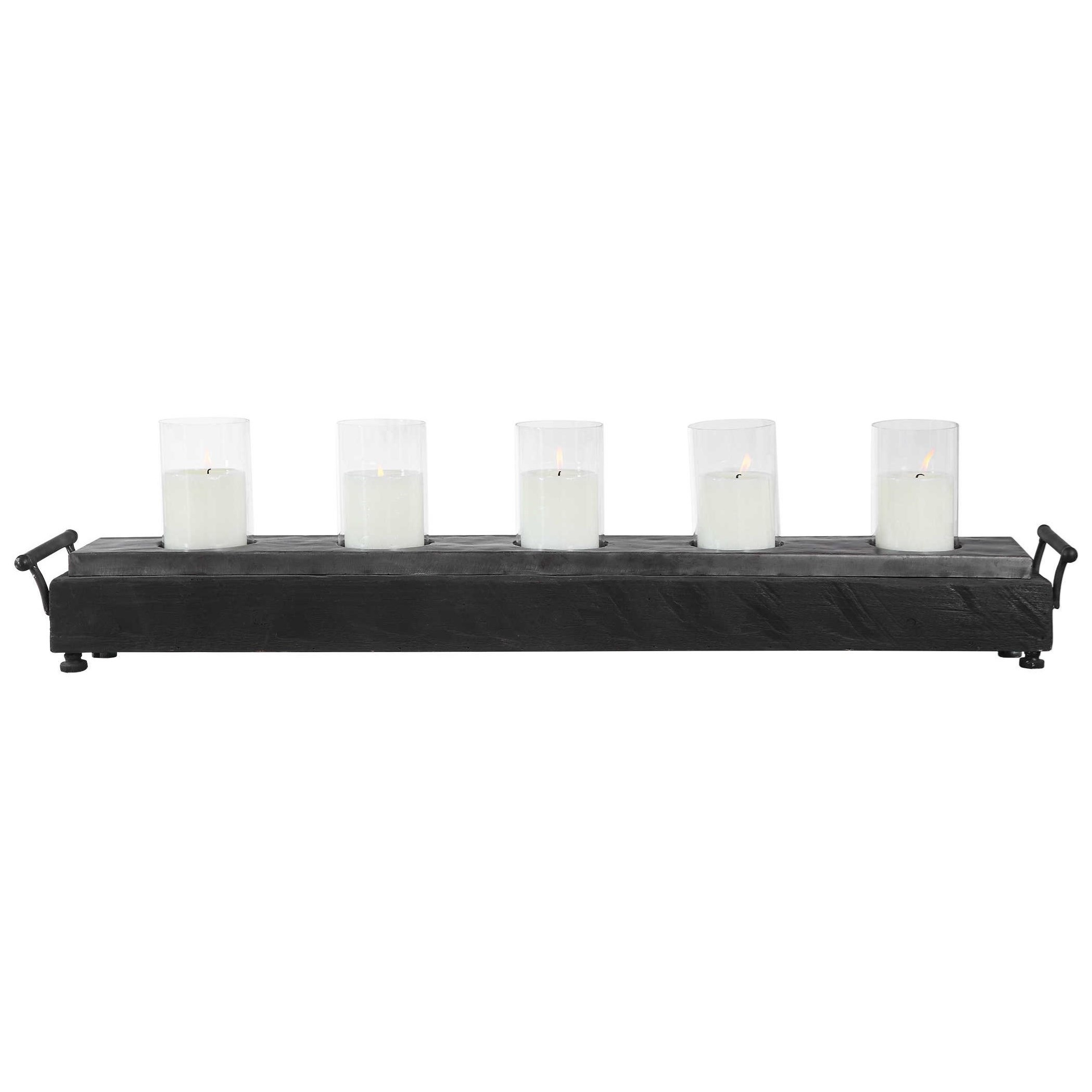 Cordaro Charcoal Wood Candleholder