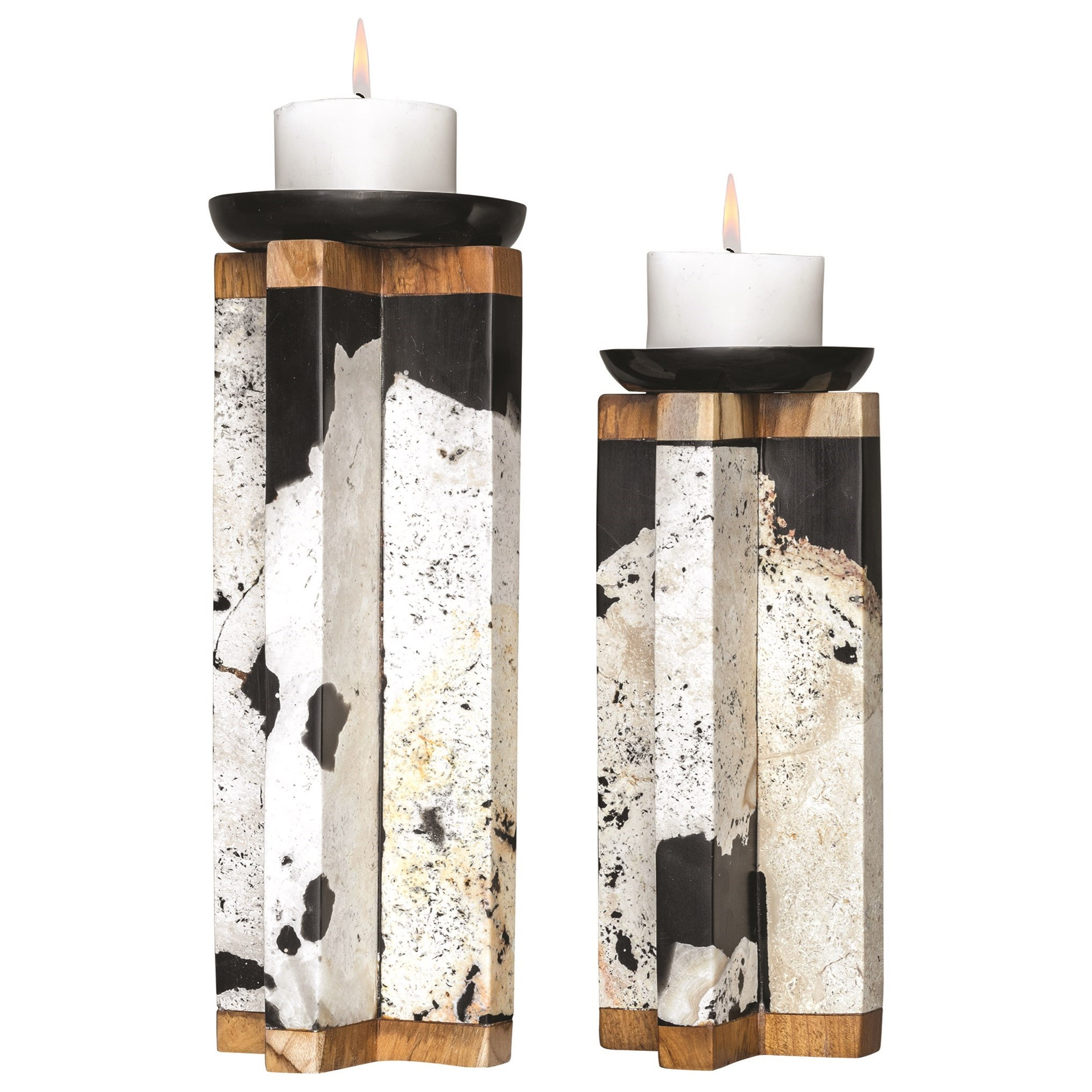 Accessories - Candle Holders Illini Stone Candleholders, S/2 by Uttermost at Dunk & Bright Furniture