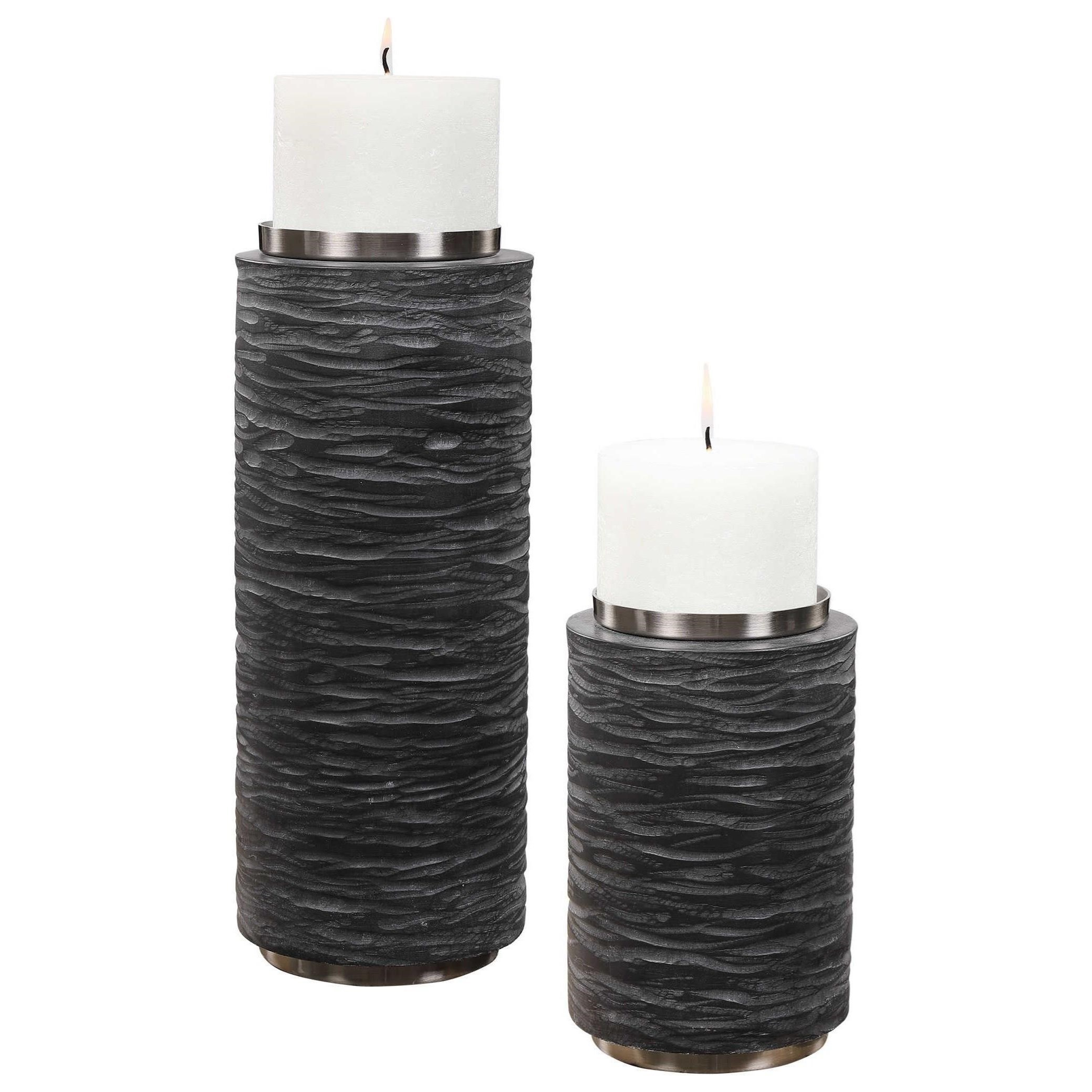 Stone Gray Candleholders, S/2