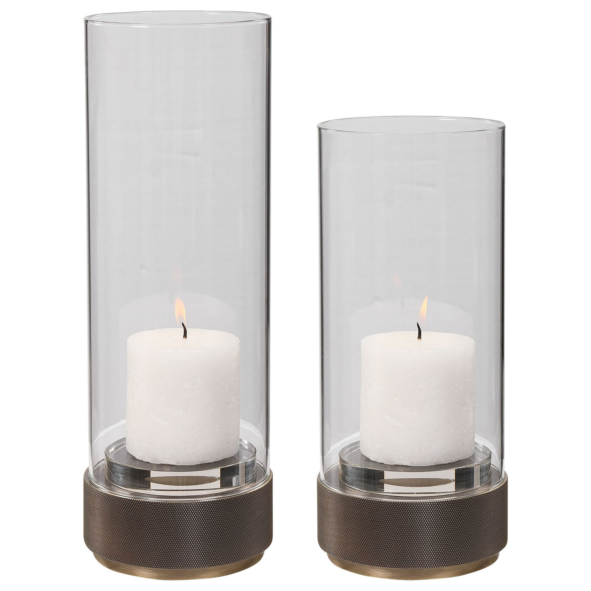 Accessories - Candle Holders Sandringham Brushed Brass Candleholders, S/2 by Uttermost at Dunk & Bright Furniture
