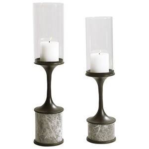 Deane Marble Candleholders, S/2