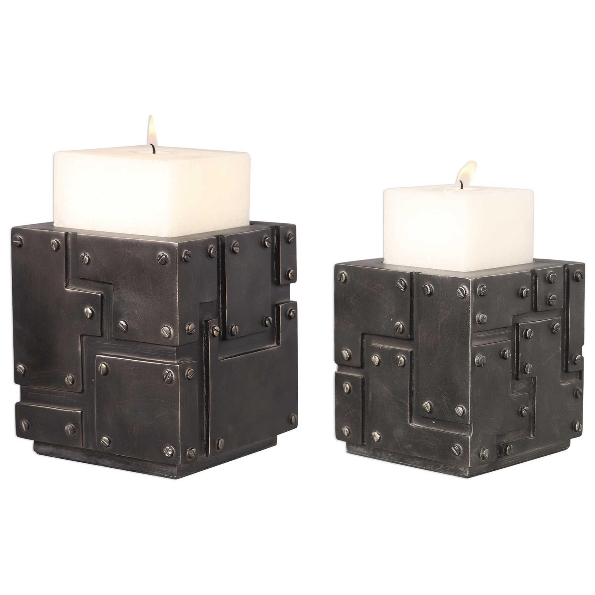 Malak Metal Block Candleholders (Set of 2)