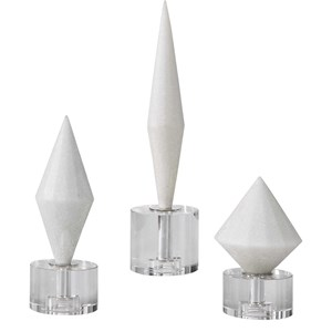 Alize White Stone Sculptures, S/3