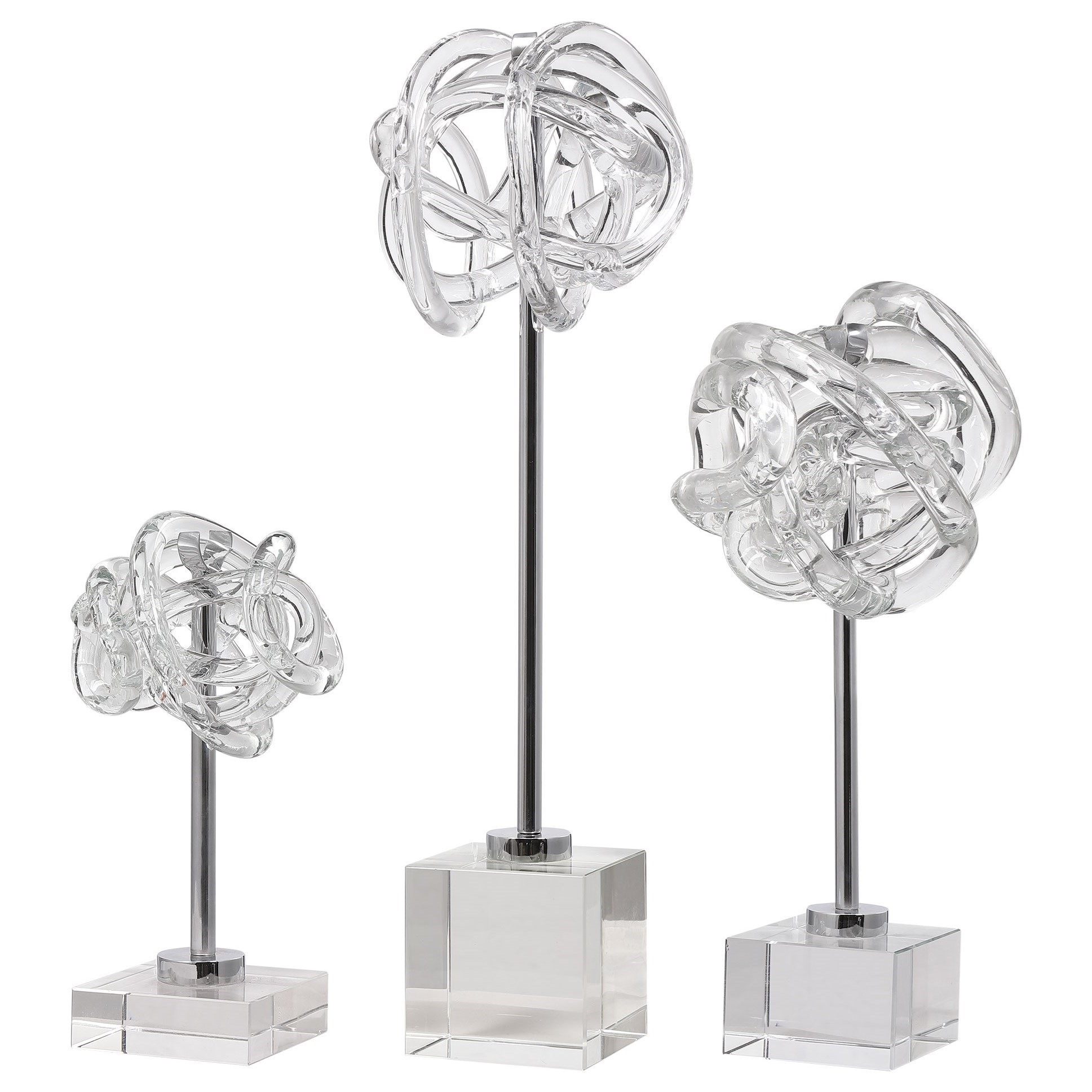 Accessories - Statues and Figurines Neuron Glass Table Top Sculptures, S/3 by Uttermost at Mueller Furniture