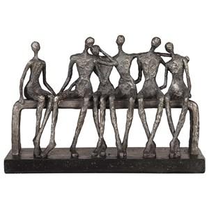 Camaraderie Aged Silver Figurine