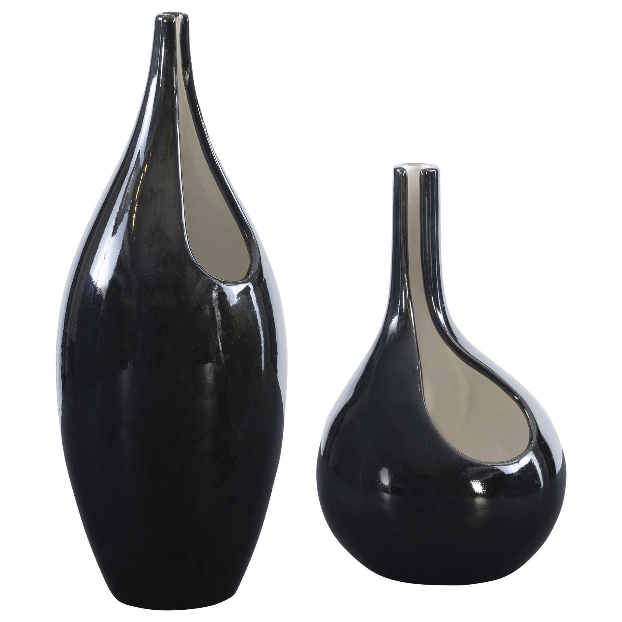 Accessories - Vases and Urns Lockwood Modern Vases, S/2 by Uttermost at Mueller Furniture