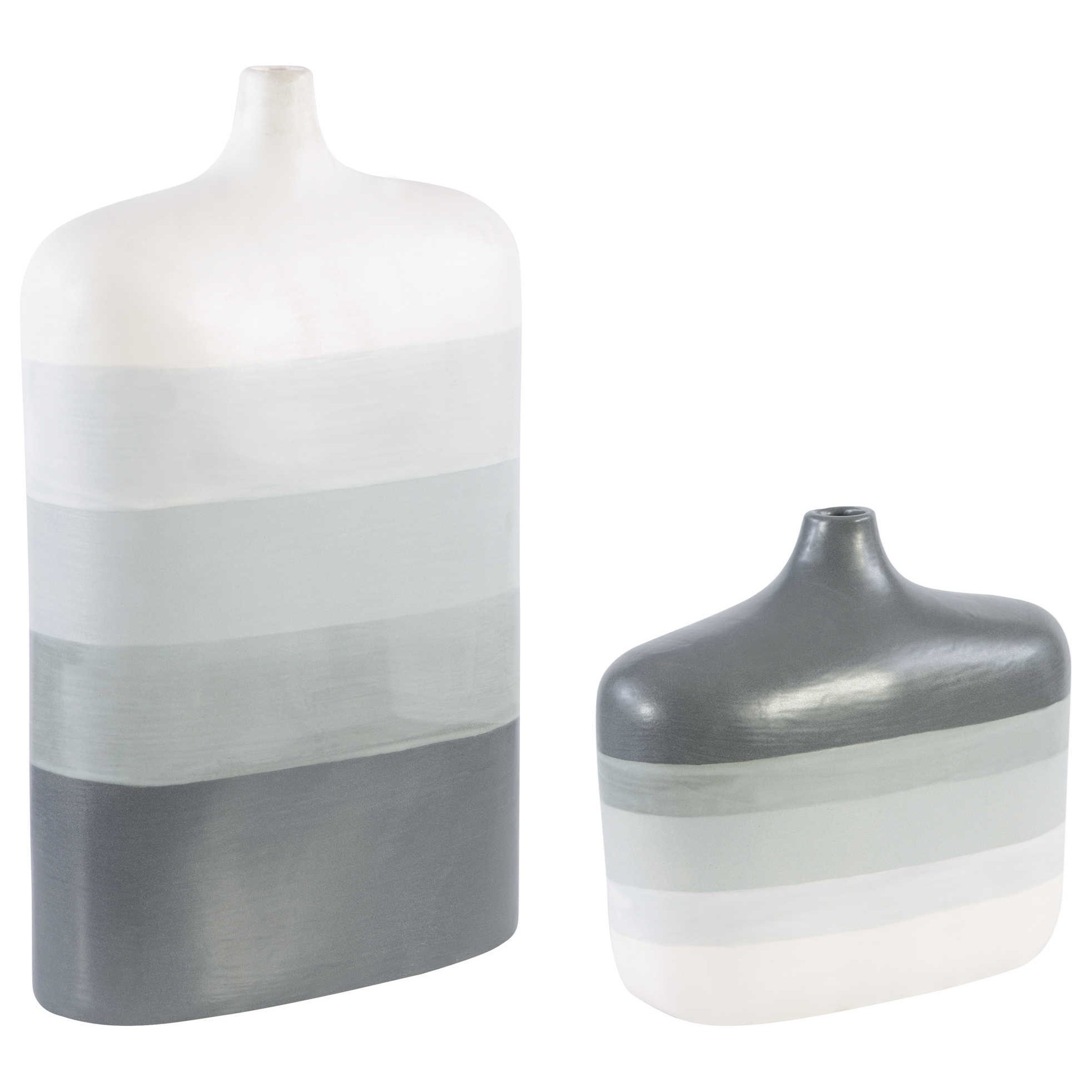 Guevara Striped Gray Vases, S/2