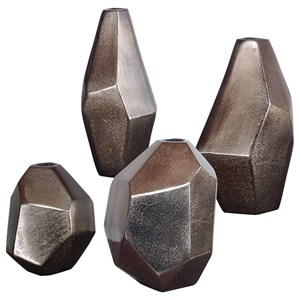 Amna Matte Nickel Vases Set/4