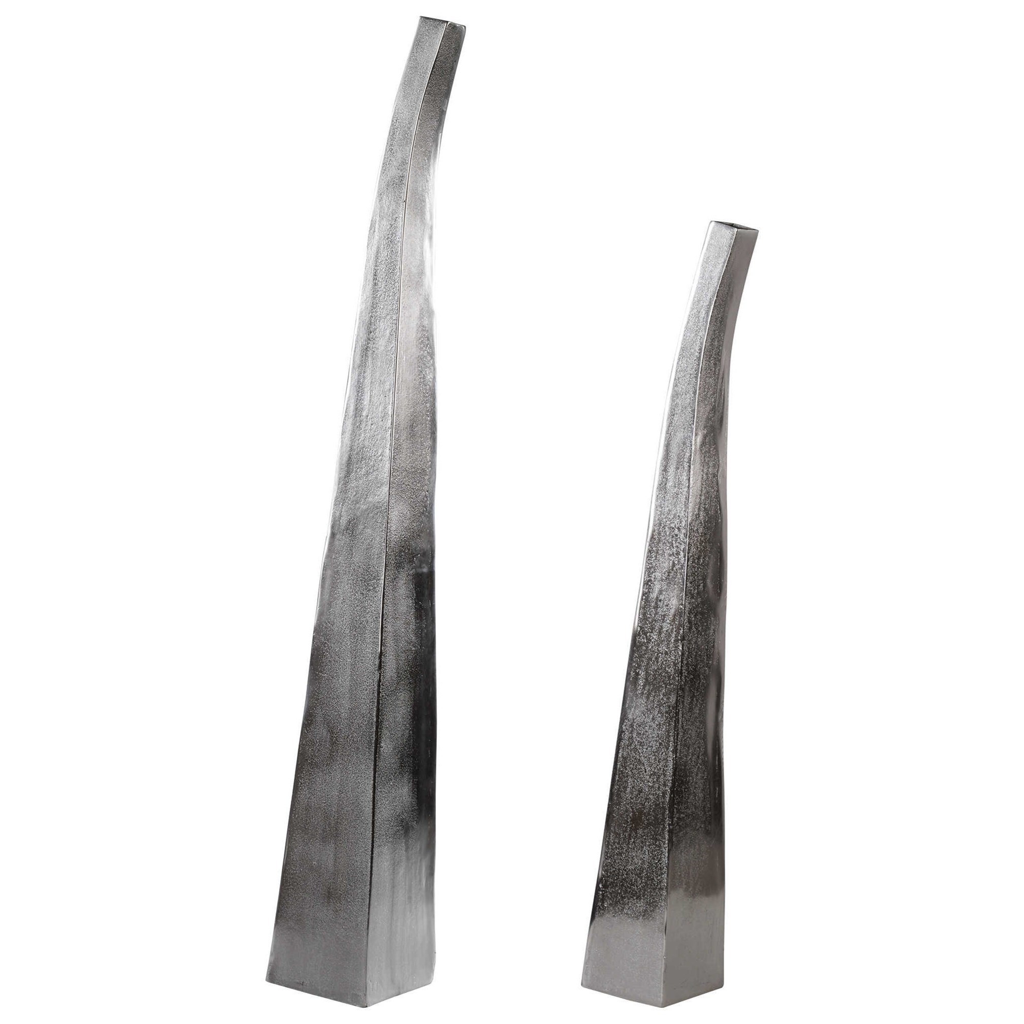Accessories - Vases and Urns Matte Nickel Vases Set of 2 by Uttermost at Suburban Furniture