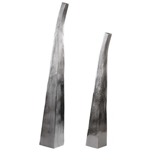 Matte Nickel Vases Set of 2